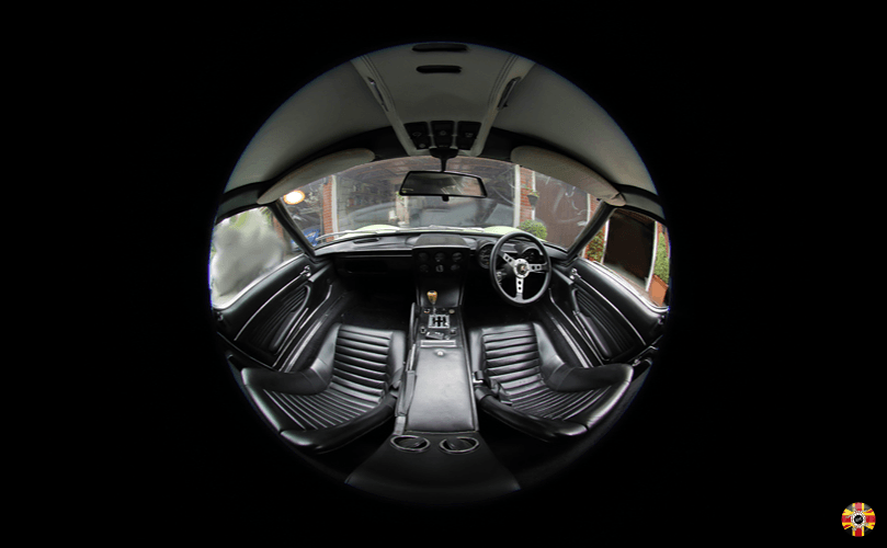 Lamborghini Miura interior fish eye lens photograph by 3D Engineers to record car for insurance purposes.