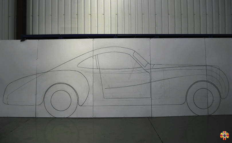 Bentley La Sarthe Special full-size drawing plan photographed and bought into Solidworks.