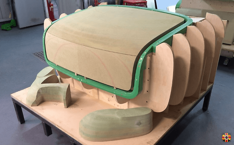 Aston Martin Volante convertible section and hammer form buck, by 3D Engineers, delivered and ready for assembly.
