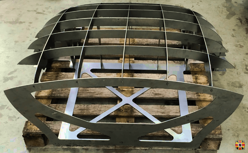 Lancia Aurelia 3D Engineers designed hard top classic car egg crate body buck created using steel sections.