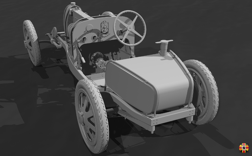 Bugatti Type 35 created in a CAD program. Body removed to show engine, chassis and minor details.