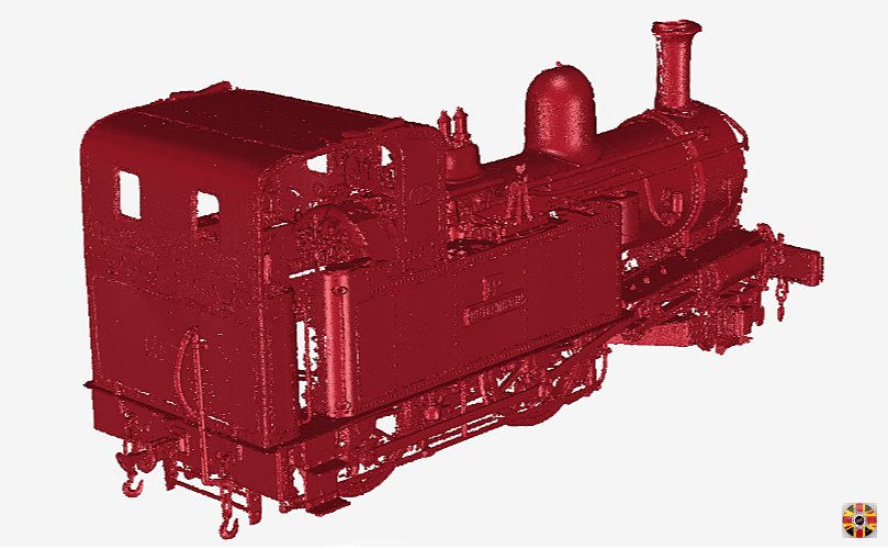 Isle of Man Manx Railway steam engine point cloud created from 3D Engineers laser scan.