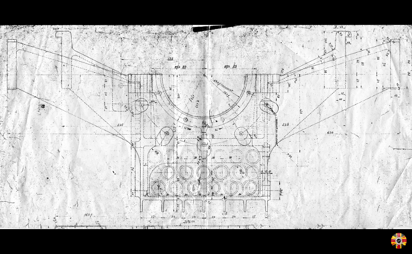 Bugatti Type 35 crankcase technical drawing plan from circa 1924.