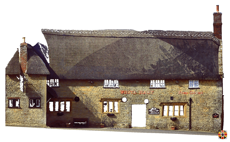 Dorset thatched pub in Yetminster, The White Hart, colorized point cloud from 3D Engineers laser scan.