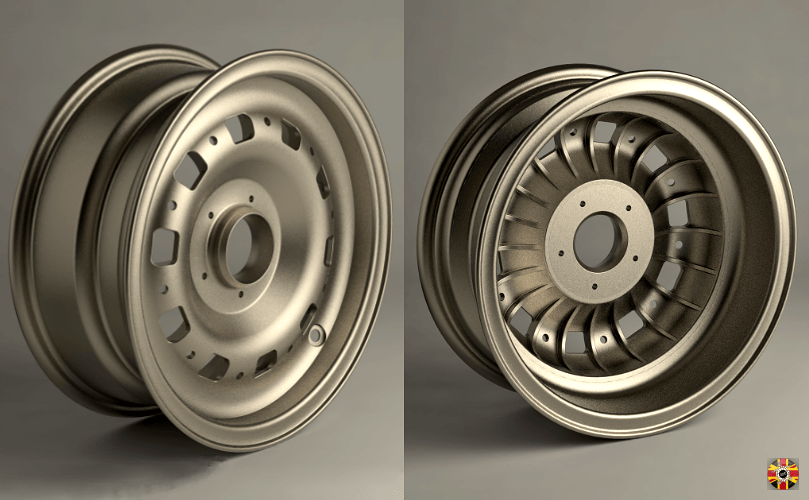 Magnesium wheel rendering created using Solidworks, Modo CAD and laser scanning all by 3D Engineers.
