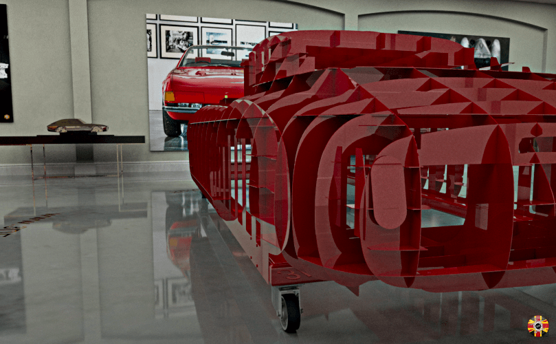 Ferrari 250 SWB 3D Engineers classic car section body buck created in steel. Shown in CG room.