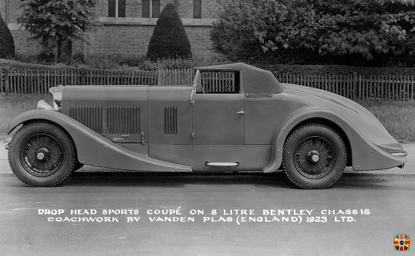 Bentley Drop head sports Coupe, 1923, on 8 Litre chassis. Coachwork by Vanden Plas.