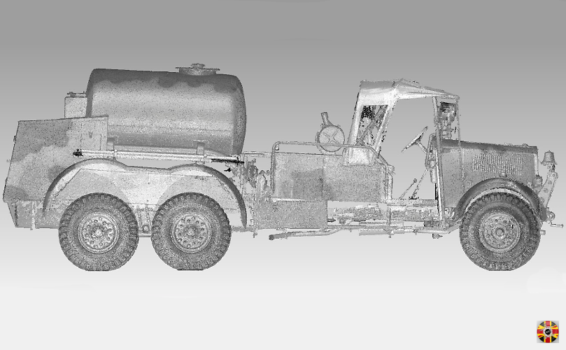 Military truck point cloud created from 3D Engineers laser scan. Black and white shown, but color possible.