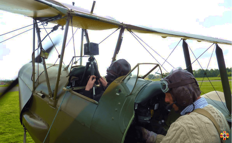 NcTech 360 degree panoramic camera strapped into Tiger Moth vintage aircraft in order to undertake aerial photography.