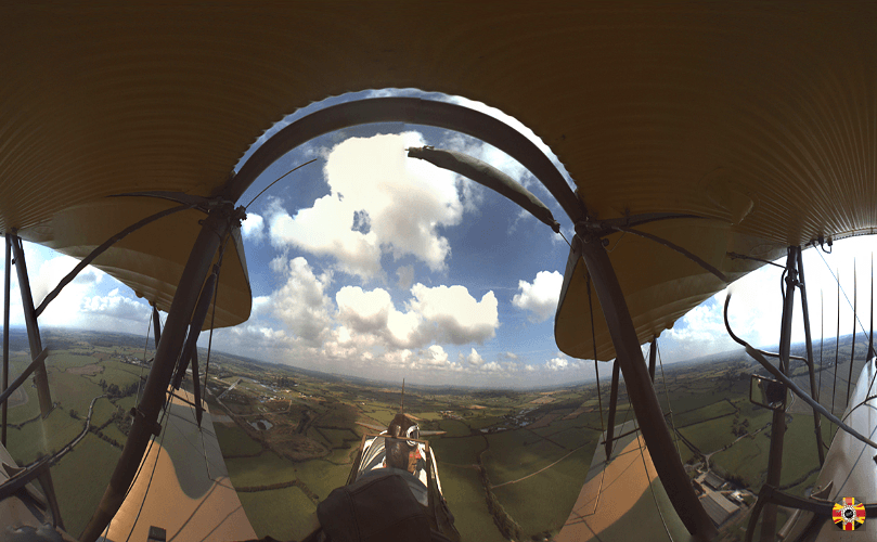 Tiger Moth vintage plane 360 degree panoramic photograph taken during a loop the loop by 3D Engineers.
