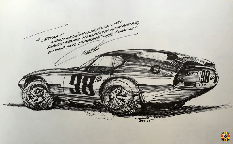 3D Engineers help with Cobra Daytona project acknowledged by Peter Brock, original designer, on signed drawing.