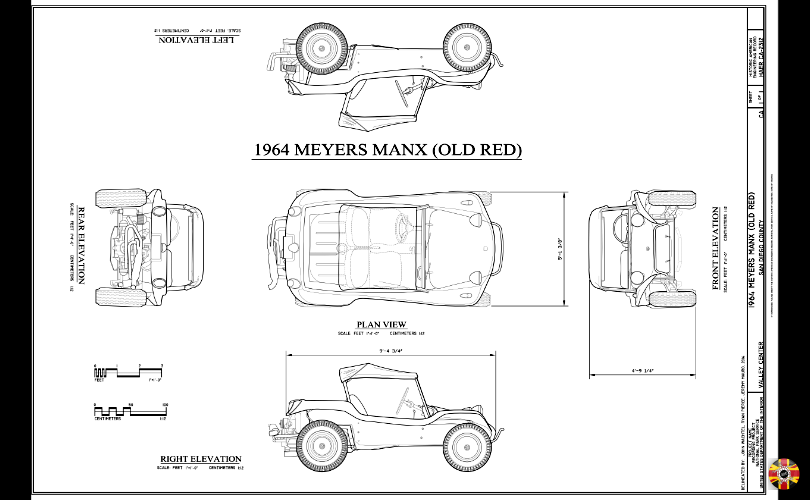 Meyers Manx, old red, from 1964, technical drawing created by 3D Engineers for American Library of Congress.