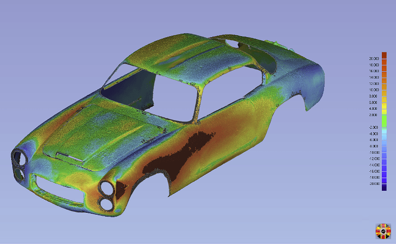 Lancia Flaminia Sport 3C laser scan data by 3D Engineers mirrored for symmetry check.