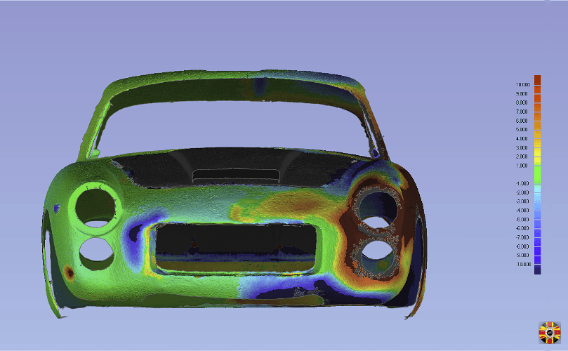 Lancia Flaminia Sport 3C laser scan data by 3D Engineers mirrored to check for symmetry differences.
