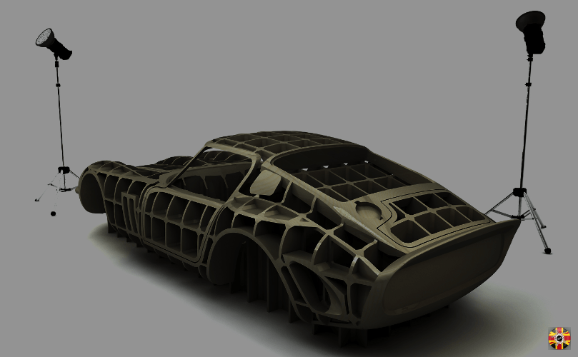 Ferrari 250 GTO body buck created from original cars laser scan data and visualized via CAD render.