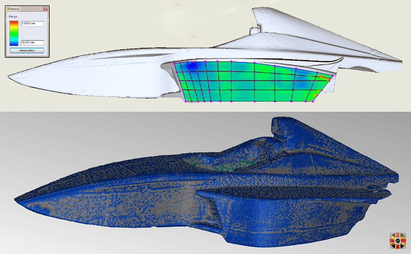 BMW single seater racing car scanned for motorsport aero analysis purposes. 3D Engineers create CAD surface.