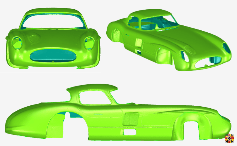 Mercedes-Benz 300 SLR Uhlenhaut Coupé re-creation, 3D laser scanned point cloud converted to polygons by 3D Engineers.