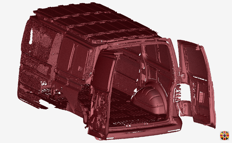 Laser scan of van interior by 3D Engineers. Undertaken to enable design and manufacture of van ply-lining.