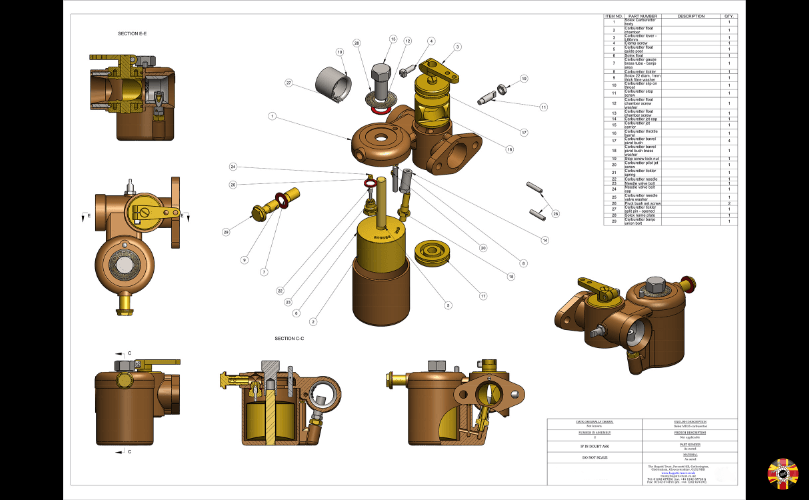 Solex Carburettor traditional drawing converted into a CAD drawing by 3D Engineers using Solidworks.