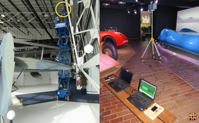 Elevated items? No problem as 3D scanning equipment is portable. Speed record cars and aircraft being scanned.