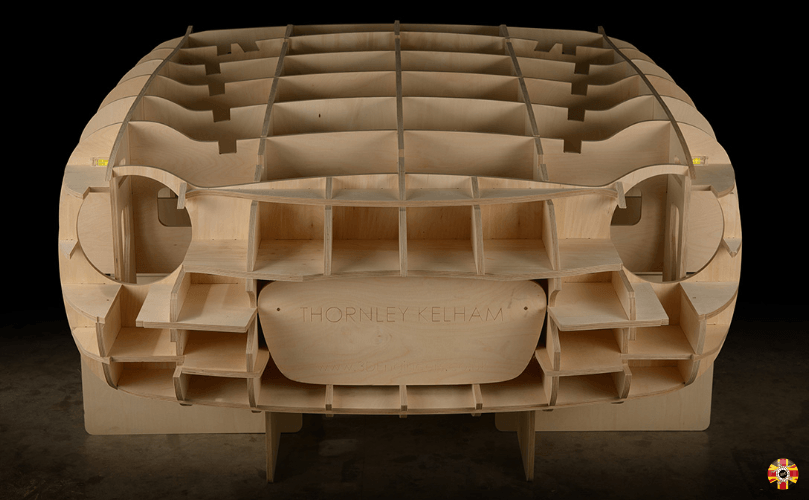 Lancia Appia GTE classic car egg crate buck, created from scan data and CAD by 3D Engineers.
