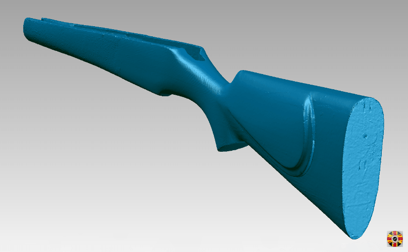 Shotgun stock 3D laser scanned in order to create an offset surface that will speed up manufacture.