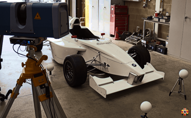 3D Engineers laser scan BMW single seater racing car for motorsport aero analysis purposes.