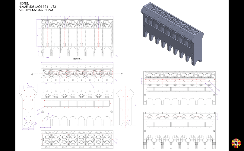 Bugatti block traditional drawing converted into a CAD drawing by 3D Engineers using Solidworks.