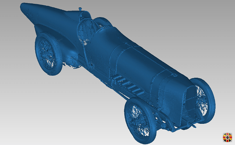 Laser scan point cloud of land speed record breaking Sunbeam 350HP car. Created by 3D Engineers.