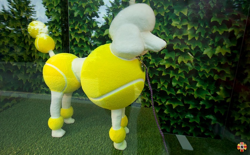 Scaled poodle covered in tennis balls CAD design by 3D Engineers for Wimbledon tennis.