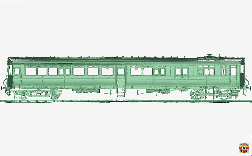 Point cloud of train carriage 3D laser scanned by 3D Engineers at Didcot, Oxfordshire. Side elevation.