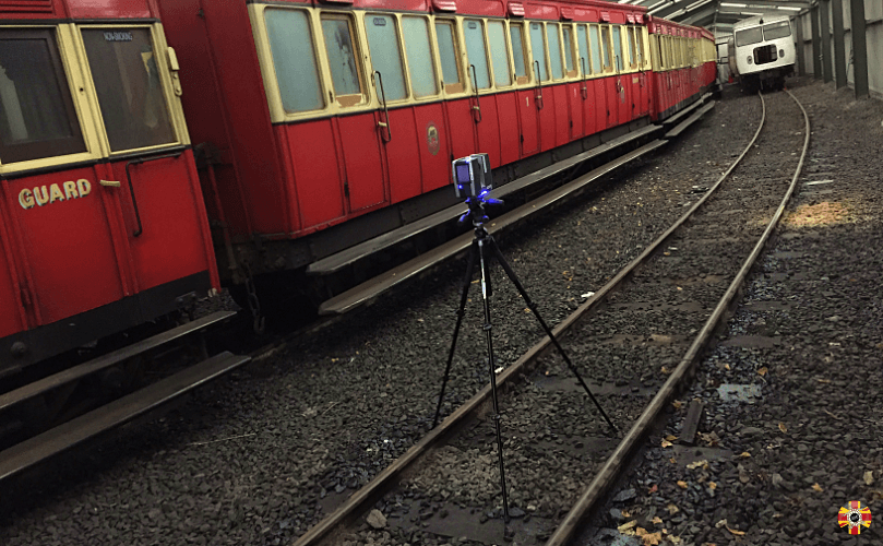 Isle of Man Manx Railway train carriages being 3D laser scanned by 3D Engineers in railway siding.