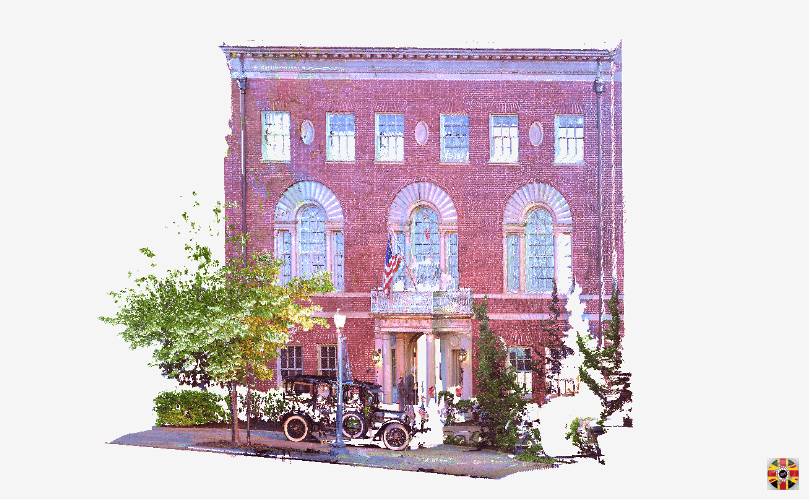 Colorized 3D laser scan of Woodrow Wilsons house frontage. 3D Engineers scan buildings all over world.
