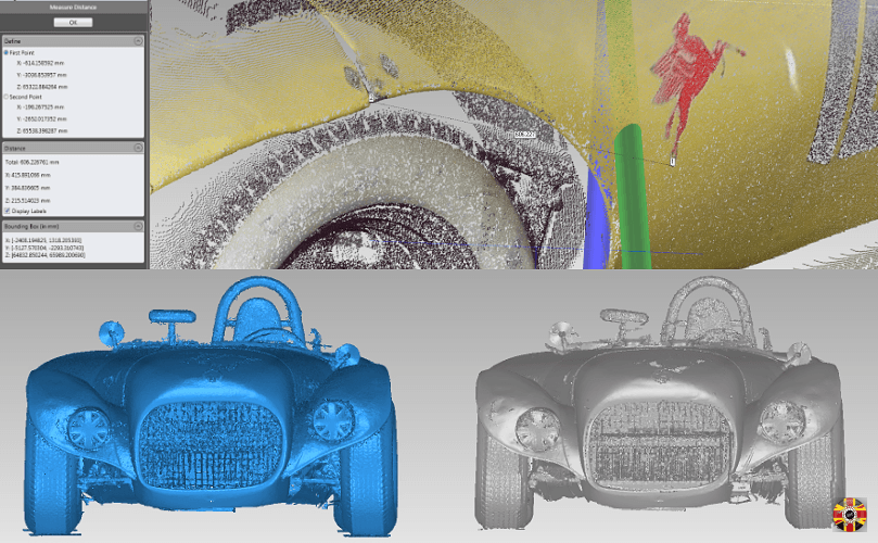 Iconic car body, Old Yeller II, laser scanned by 3D Engineers as insurance if damaged in racing.