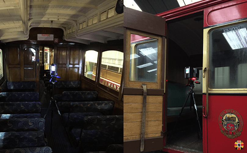 Isle of Man Manx Railway carriages being laser 3D scanned by 3D Engineers in railway siding.