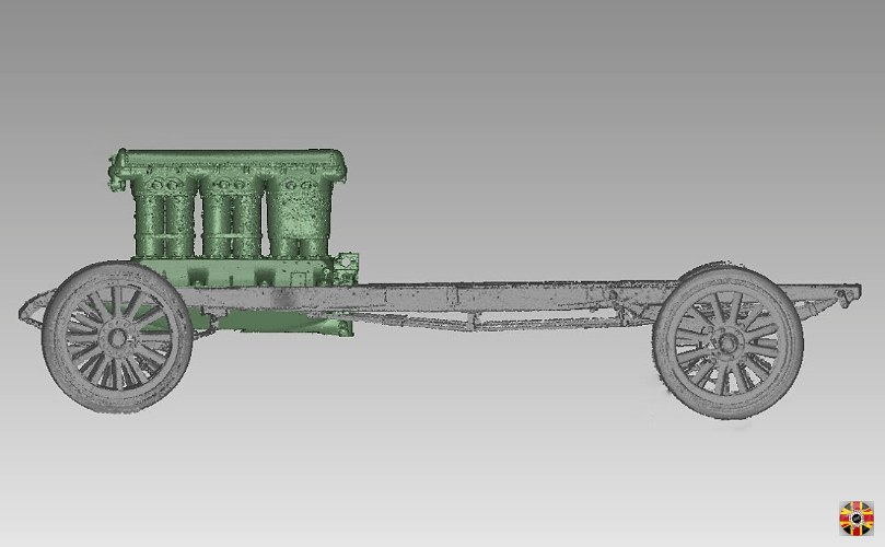Veteran car chassis and vintage aero engine 3D scan data, combined for classic car revival project.