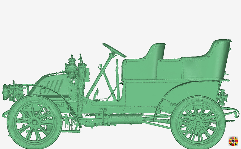 VETERAN, 1905 CORRE TYPE F, Delalande coachwork, 3D point cloud created from 3D Engineers laser scan.