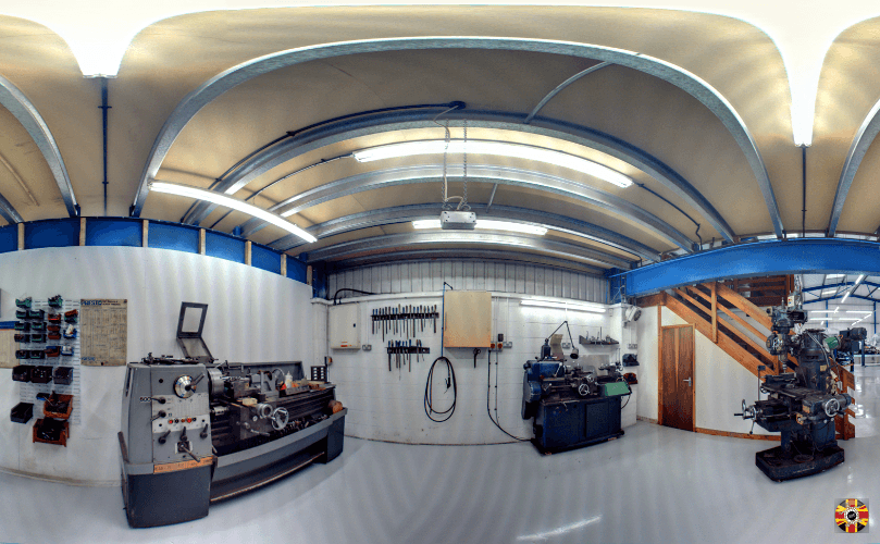 360 degree panoramic photograph of a work unit. 3D Engineers create interactive tours of work places.