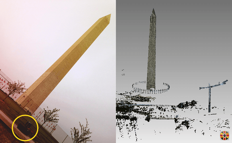 Washington monument and surrounding area, point cloud created using 3D Engineers worldwide laser scanning service.