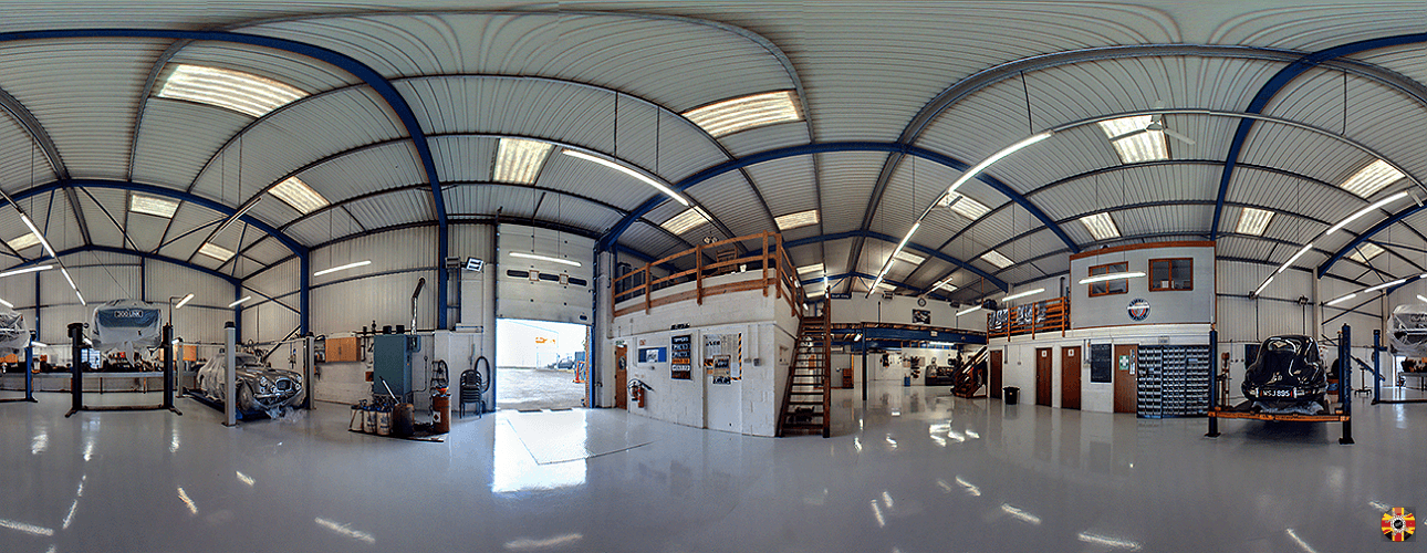 Classic car workshop visualized with 360 degree NCTech panoramic camera. Walk throughs to client requirement.