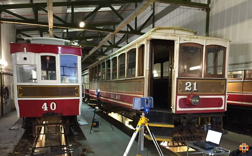 Manx Electric Railway Isle of Man trams being laser scanned by 3D Engineers.