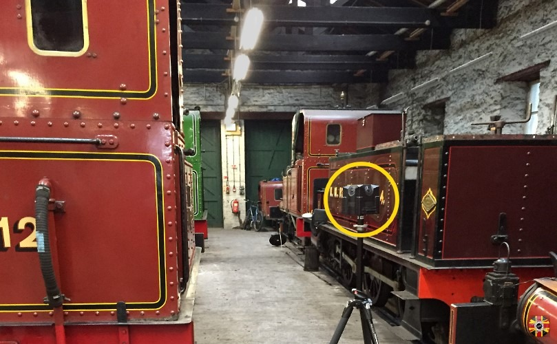 Panoramic 360 degree photograph of Isle of Man steam trains being taken at Douglas railway depot by 3D Engineers.