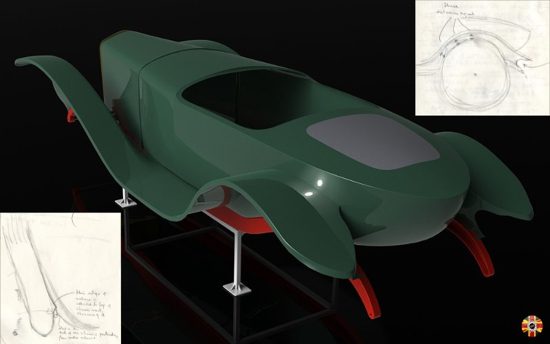 Green Ballot 2LS boat tail created in CAD by 3D Engineers using laser scanning. On stand for visualization purposes.