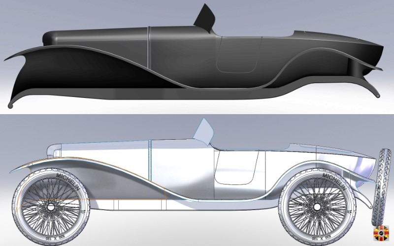 Ballot 2LS boat tail created in CAD by 3D Engineers. Design shown with and without wheels to aid visualization of bespoke body.