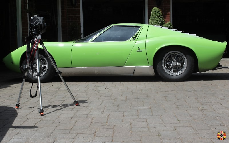 Lamborghini Miura being photographed as part of 3D Engineers car recording process that also includes 3D laser scanning.