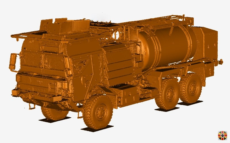MAN army truck 3D laser scanned point cloud.