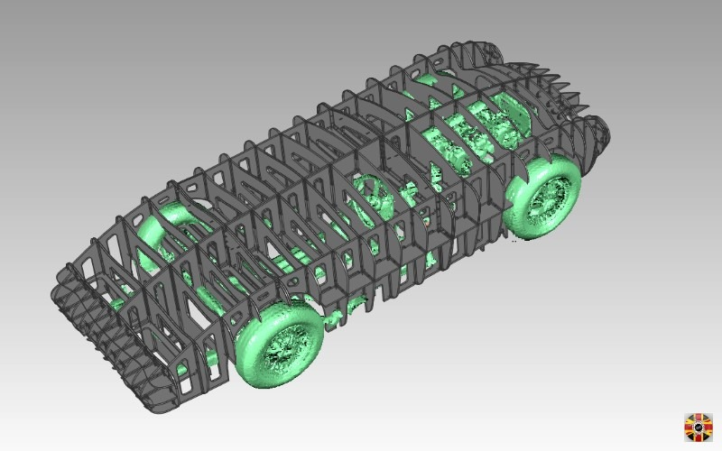 3D Engineers egg crate buck over MC MK1 chassis to check fit before manufacture. Chassis from Triumph TR6. Car design bespoke.