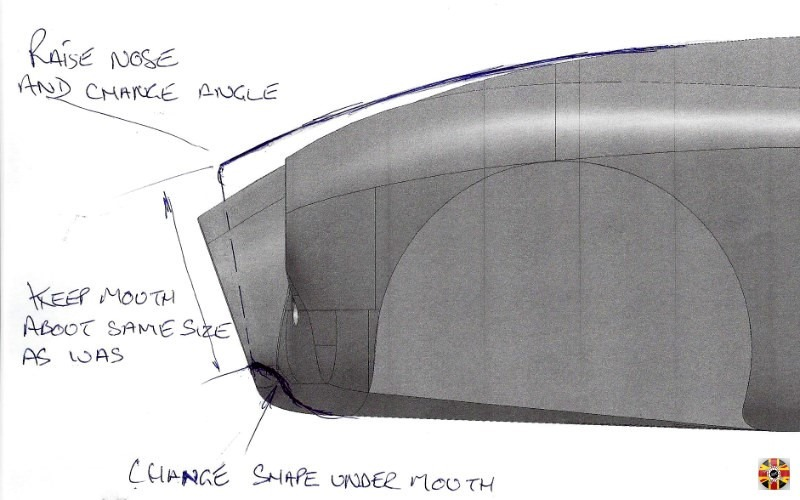 Nose of a 3D CAD classic car design printed out and amended manually, ready to be re-input and changed in a computer by 3D Engineers.
