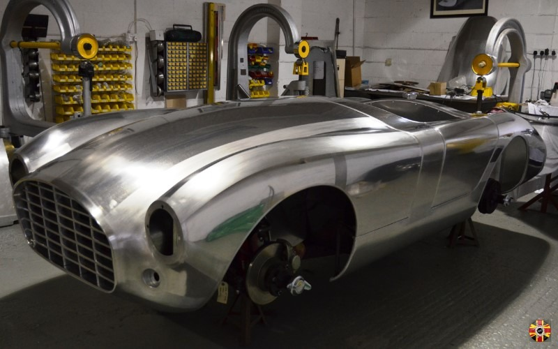 3D Engineers bespoke car design MC MK1. Based on a Triumph TR6. Car in bare aluminium at metalworkers Mouland and Yates.
