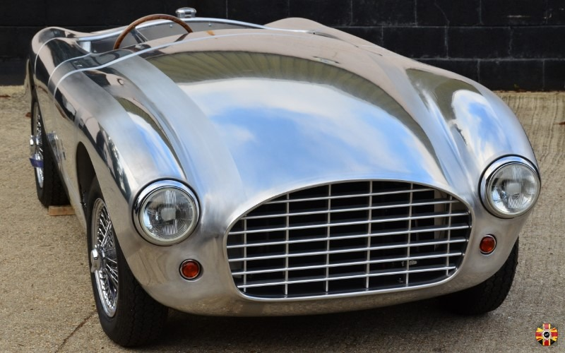 Front view of beautiful bare aluminium bespoke car bodywork design from 3D Engineers, with metalwork by Mouland and Yates.